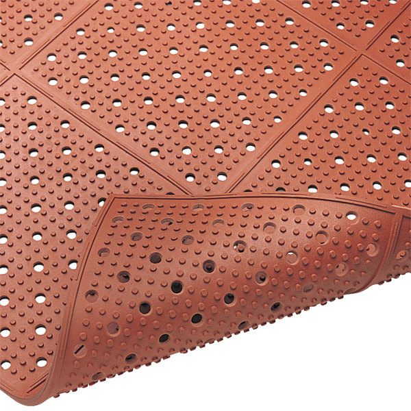 """Cactus Mat 1640R-R4 REVERS-a-MAT 4' Wide Red Reversible Rubber Anti-Fatigue Safety Runner Mat - 3/8"""" Thick"""