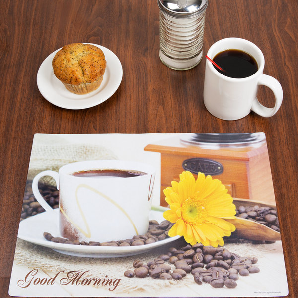 "Hoffmaster 311118 10"" x 14"" Good Morning Paper Placemat - 1000/Case"