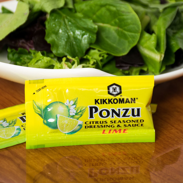 Kikkoman Lime Ponzu Citrus Seasoned Dressing & Sauce 6 mL Packet - 500/Case