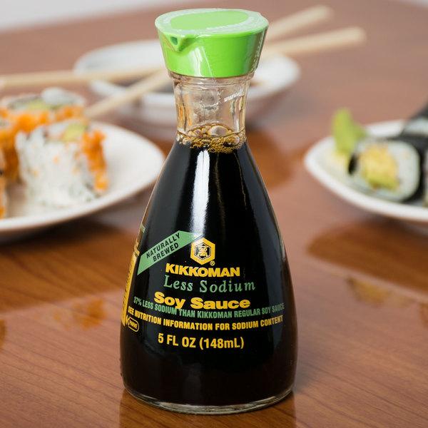 Kikkoman Naturally Brewed Less Sodium Soy Sauce Dispenser 5 fl. oz. Bottle - 12/Case