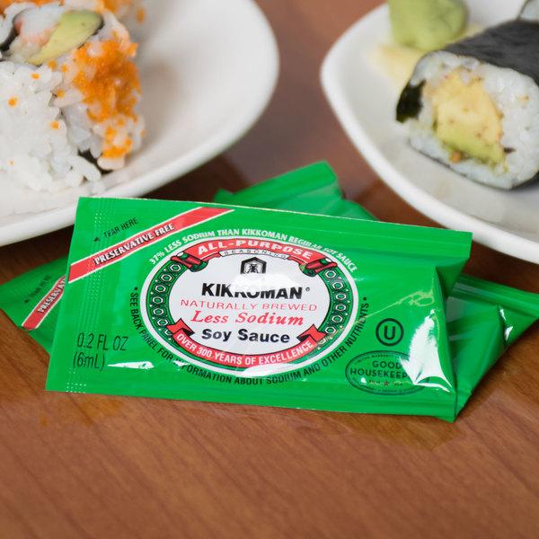 Kikkoman Less Sodium Preservative Free Soy Sauce 6 mL Packet - 200/Case