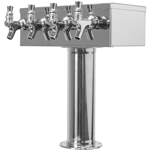 "Micro Matic D7744PSS Stainless Steel 4 Tap ""T"" Style Tower - 3"" Column Main Image 1"