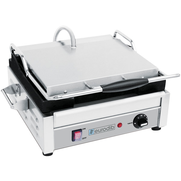 "Eurodib SFE02340 Single Panini Grill with Smooth Plates - 14 1/2"" x 9 3/8"" Cooking Surface - 110V, 1800W"