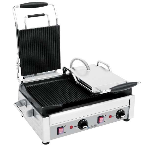 "Eurodib SFE02365 Double Panini Grill with Grooved Plates - 18"" x 11"" Cooking Surface - 220V, 2900W"