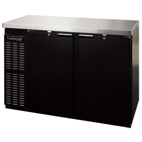 "Continental Refrigerator BBC59S 59"" Black Shallow Depth Solid Door Back Bar Refrigerator"