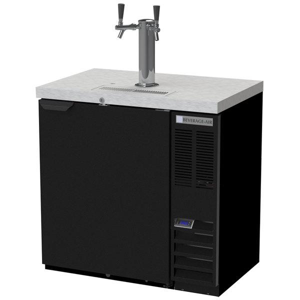 Beverage-Air DD36HC-1-B Double Tap Kegerator Beer Dispenser - Black, (1) 1/2 Keg Capacity
