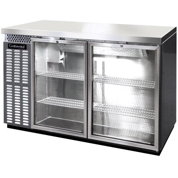 "Continental Refrigerator BBC50-SS-GD 50"" Stainless Steel Glass Door Back Bar Refrigerator"