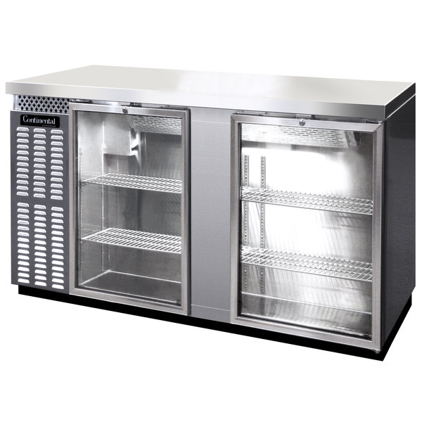 "Continental Refrigerator BB69NSSGD 69"" Stainless Steel Glass Door Back Bar Refrigerator"