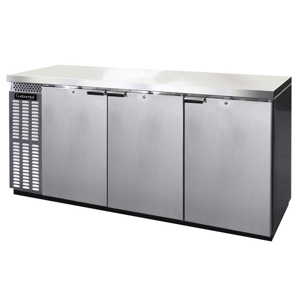 """Continental Refrigerator BBC79S-SS 79"""" Stainless Steel Shallow Depth Solid Door Back Bar Refrigerator"""