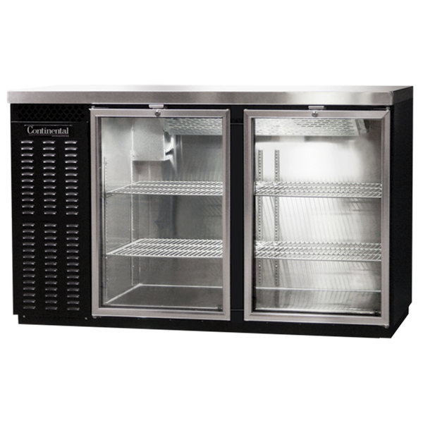 "Continental Refrigerator BBC59S-GD 59"" Black Shallow Depth Glass Door Back Bar Refrigerator"