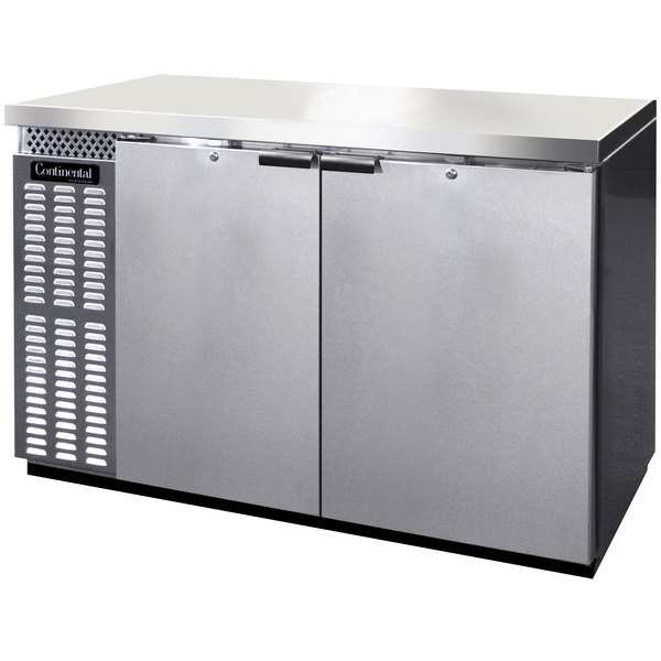 "Continental Refrigerator BB50NSS 50"" Stainless Steel Solid Door Back Bar Refrigerator"