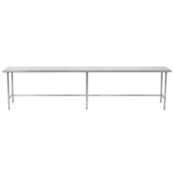 "Advance Tabco TAG-3012 30"" x 144"" 16 Gauge Open Base Stainless Steel Commercial Work Table"