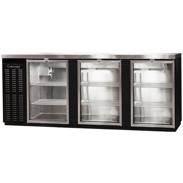 "Continental Refrigerator BBC90S-GD 90"" Black Shallow Depth Glass Door Back Bar Refrigerator"