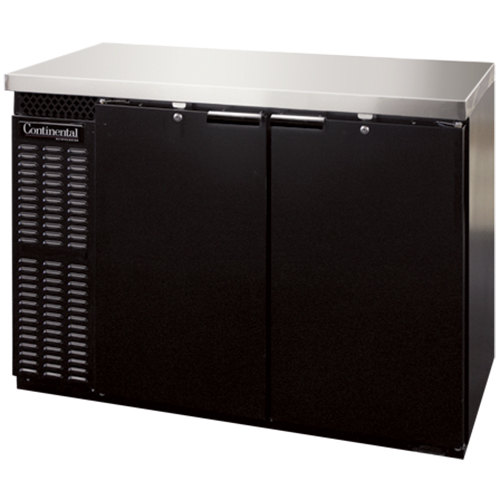 "Continental Refrigerator BBC50S 50"" Black Shallow Depth Solid Door Back Bar Refrigerator"