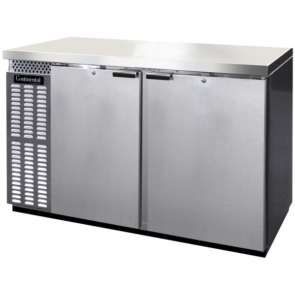 """Continental Refrigerator BBC59S-SS 59"""" Stainless Steel Shallow Depth Solid Door Back Bar Refrigerator"""