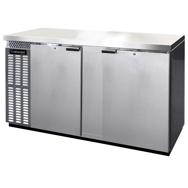 "Continental Refrigerator BBC69S-SS 69"" Stainless Steel Shallow Depth Solid Door Back Bar Refrigerator"