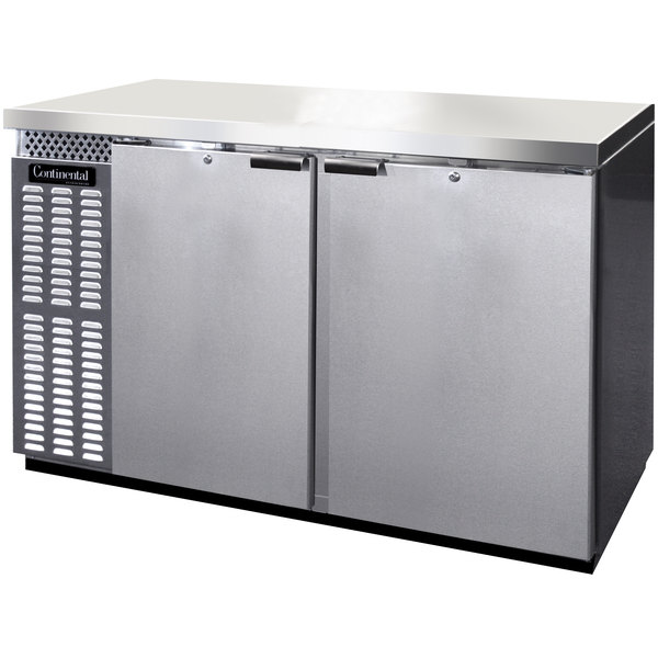 """Continental Refrigerator BB59NSS 59"""" Stainless Steel Solid Door Back Bar Refrigerator Main Image 1"""