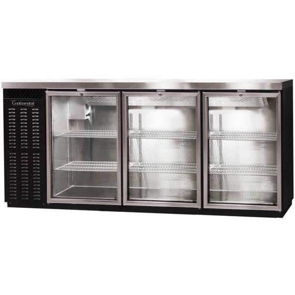 "Continental Refrigerator BBC79S-GD 79"" Black Shallow Depth Glass Door Back Bar Refrigerator"