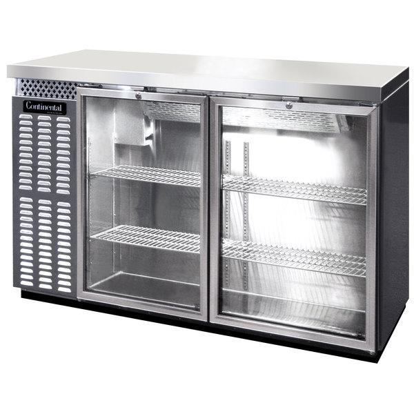 "Continental Refrigerator BB50SNSSGD 50"" Stainless Steel Shallow Depth Glass Door Back Bar Refrigerator Main Image 1"