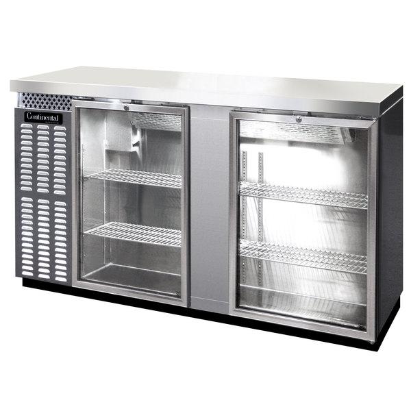 "Continental Refrigerator BB69SNSSGD 69"" Stainless Steel Shallow Depth Glass Door Back Bar Refrigerator"