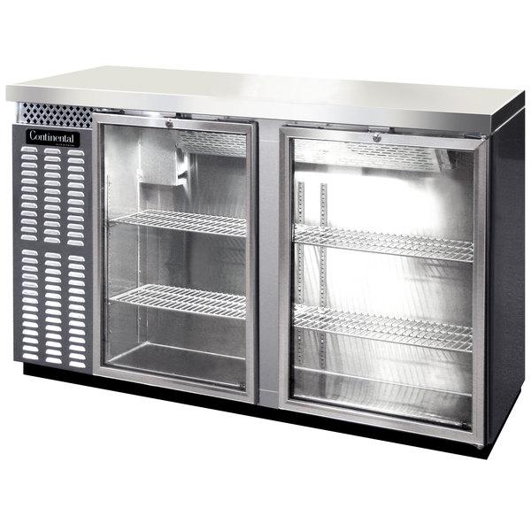 "Continental Refrigerator BBC59S-SS-GD 59"" Stainless Steel Shallow Depth Glass Door Back Bar Refrigerator"