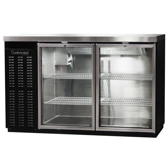 "Continental Refrigerator BBC50S-GD 50"" Black Shallow Depth Glass Door Back Bar Refrigerator"