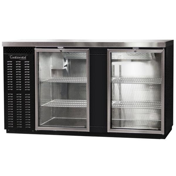 "Continental Refrigerator BB69SNGD 69"" Black Shallow Depth Glass Door Back Bar Refrigerator Main Image 1"