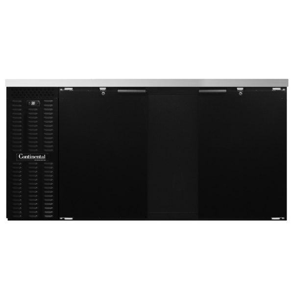 """Continental Refrigerator BB69SN 69"""" Black Shallow Depth Solid Door Back Bar Refrigerator"""
