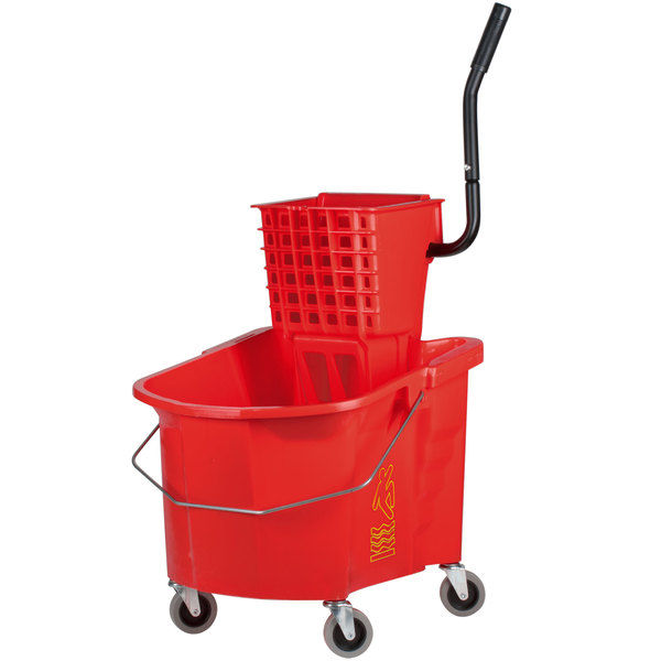 Continental 335-312RD 35 Qt. Red Splash Guard Mop Bucket with Side-Press Wringer