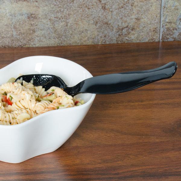 "Fineline 3302-BK Platter Pleasers Black Plastic 8 1/2"" Serving Spoon - 144/Case"