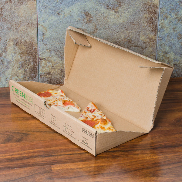 """GreenBox 12"""" x 12"""" x 1 3/4"""" Corrugated Recycled Pizza Box with Built-In Plates and Storage Container - 50/Bundle"""