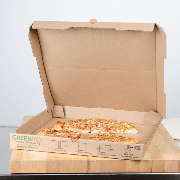"""GreenBox 18"""" x 18"""" x 1 3/4"""" Corrugated Recycled Pizza Box with Built-In Plates and Storage Container - 50/Bundle Main Image 3"""