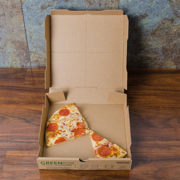 "GreenBox 10"" x 10"" x 1 3/4"" Corrugated Recycled Pizza Box with Built-In Plates and Storage Container - 50/Bundle Main Image 3"