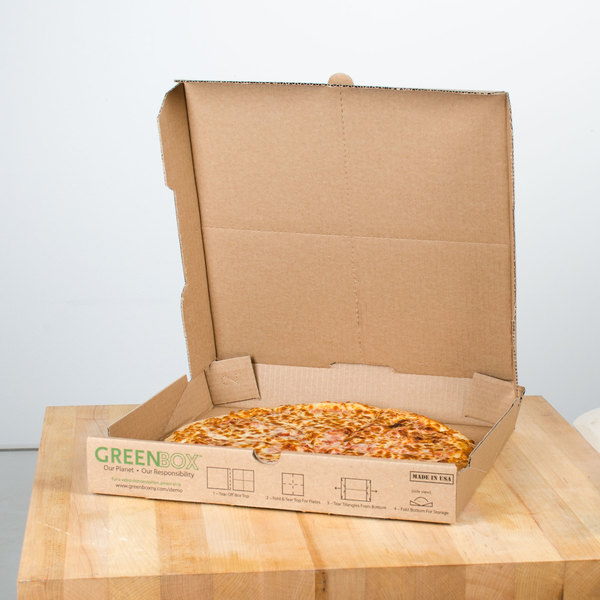 GreenBox 14  x 14  x 1 3/4  Corrugated Recycled Pizza Box with Built-In Plates ... & GreenBox 14