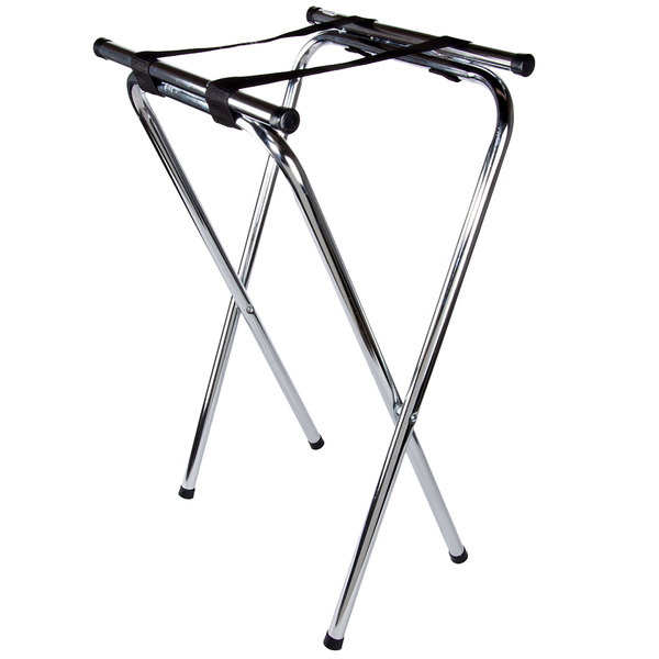 Lancaster Table & Seating 19 inch x 16 1/2 inch x 31 inch Folding Chrome Double Bar Tray Stand