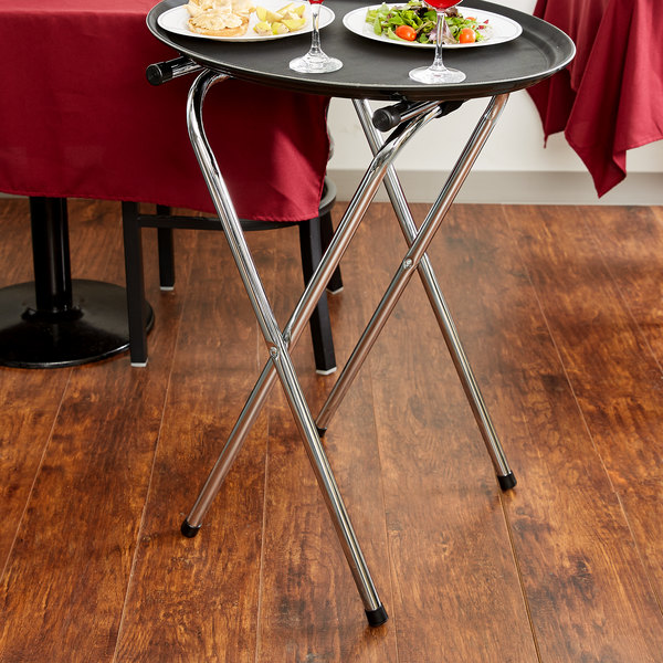 "Lancaster Table & Seating 19"" x 16 1/2"" x 31"" Folding Chrome Double Bar Tray Stand"