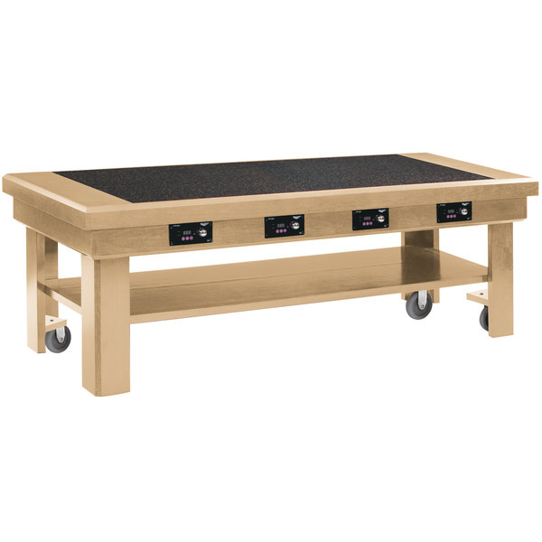 """Vollrath 7552380 76"""" Maple Induction Buffet Table with 4 Warmers - 120V"""