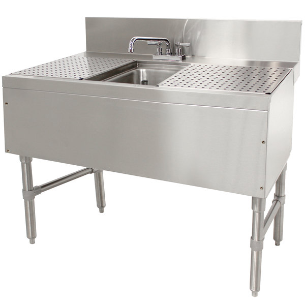 "Advance Tabco PRB-24-31C 1 Compartment Prestige Series Underbar Sink with (2) 12"" Drainboards and Deck Mount Faucet - 25"" x 36"""