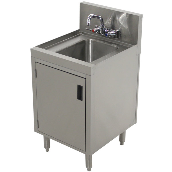"""Advance Tabco PRHSC-19-18 Prestige Series Stainless Steel Underbar Hand Sink with Cabinet Base - 20"""" x 18"""" Main Image 1"""