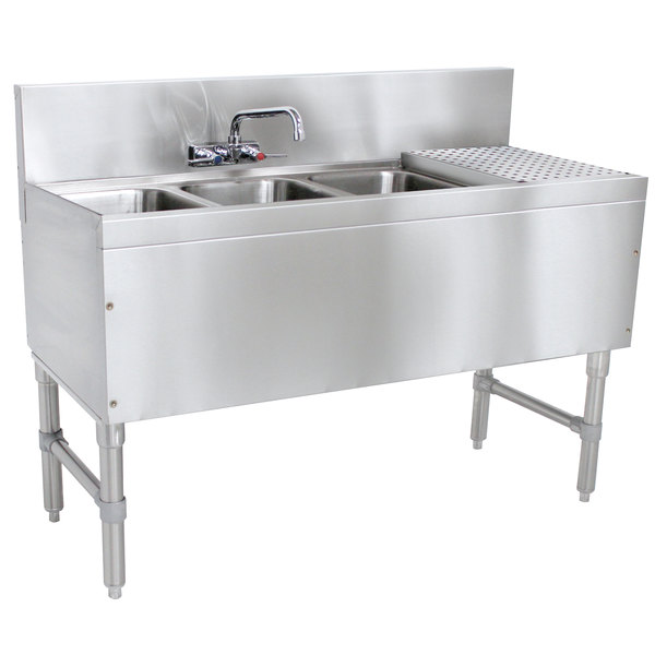 "Advance Tabco PRB-19-43L 3 Compartment Prestige Series Underbar Sink with (1) 11"" Drainboard and Splash Mount Faucet - 20"" x 48"" Main Image 1"