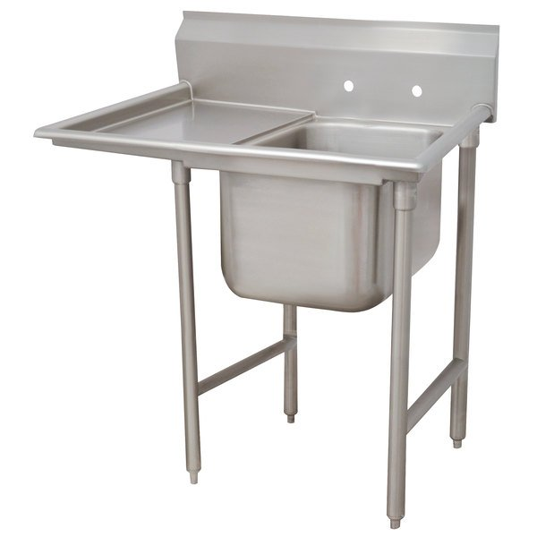 Left Drainboard Advance Tabco 93-81-20-18 Regaline One Compartment Stainless Steel Sink with One Drainboard - 44""