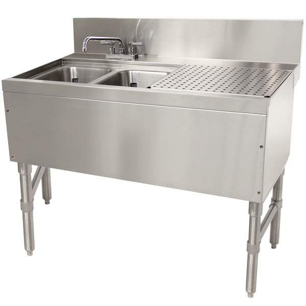 "Advance Tabco PRB-24-32L 2 Compartment Prestige Series Underbar Sink with (1) 11"" Drainboard and Deck Mount Faucet - 25"" x 36"""