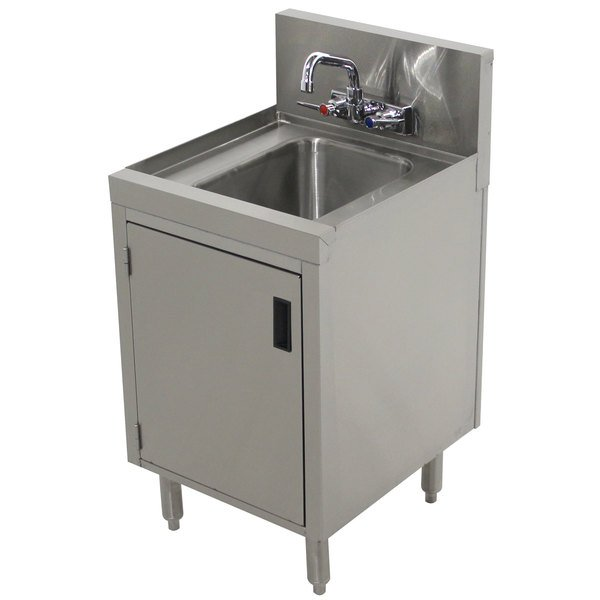 """Advance Tabco PRHSC-19-12 Prestige Series Stainless Steel Underbar Hand Sink with Cabinet Base - 20"""" x 12"""" Main Image 1"""