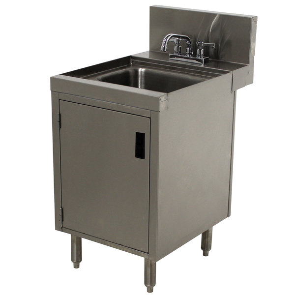 "Advance Tabco PRHSC-24-12 Prestige Series Stainless Steel Underbar Hand Sink with Cabinet Base - 25"" x 12"" Main Image 1"
