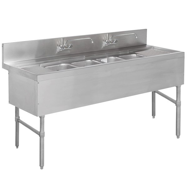 "Advance Tabco PRB-19-64C 4 Compartment Prestige Series Underbar Sink with (2) 12"" Drainboards and (2) Splash Mount Faucets - 20"" x 72"""