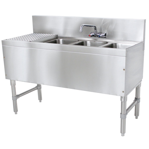 "Advance Tabco PRB-19-43R 3 Compartment Prestige Series Underbar Sink with (1) 11"" Drainboard and Splash Mount Faucet - 20"" x 48"" Main Image 1"