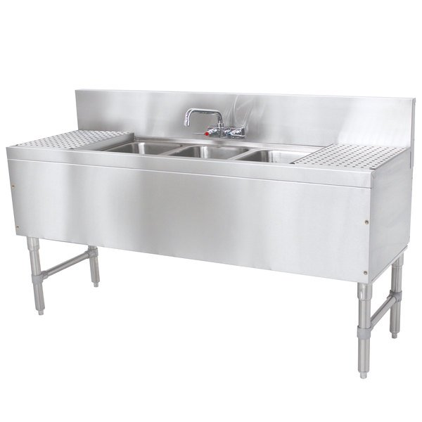 """Advance Tabco PRB-19-63C 3 Compartment Prestige Series Underbar Sink with (2) 18"""" Drainboards and Splash Mount Faucet - 20"""" x 72"""" Main Image 1"""