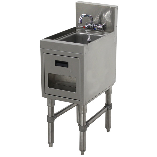 """Advance Tabco PRHSST-19-12 Prestige Series Stainless Steel Underbar Hand Sink with Soap and Towel Dispenser - 20"""" x 12"""" Main Image 1"""