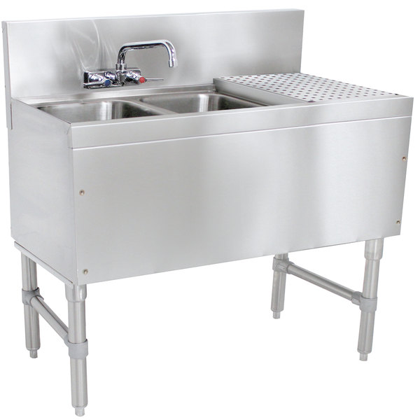 """Advance Tabco PRB-19-42L 2 Compartment Prestige Series Underbar Sink with (1) 23"""" Drainboard and Splash Mount Faucet - 20"""" x 48"""" Main Image 1"""