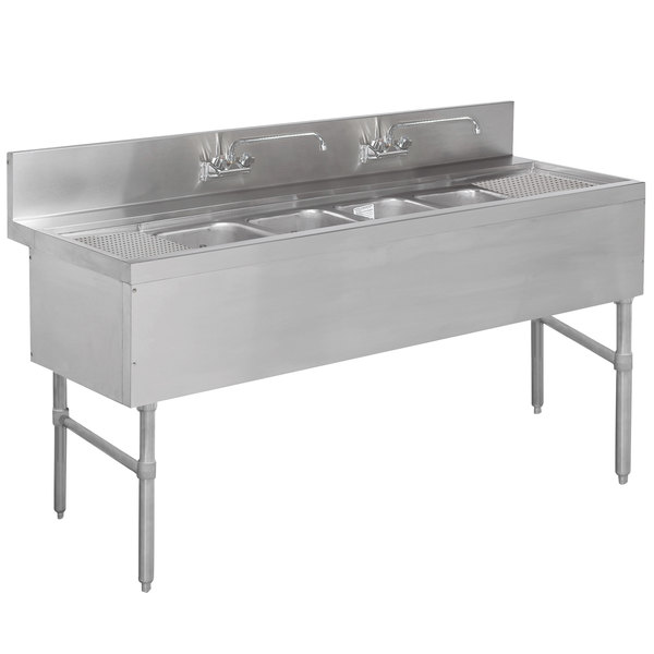 """Advance Tabco PRB-19-74C 4 Compartment Prestige Series Underbar Sink with (2) 18"""" Drainboards and (2) Splash Mount Faucets - 20"""" x 84"""""""